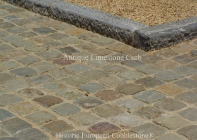 20. Antique Limestone Curb and 5x5 cobblestone