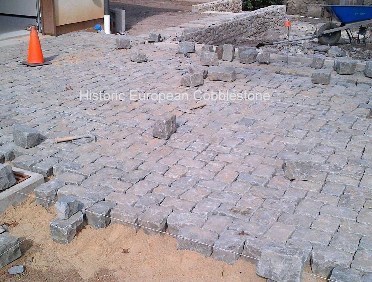 Granite Cobblestone Pavers : Granite cobblestone herringbone pattern antique