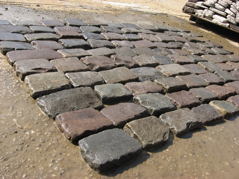 Granite Cobblestone Thin Pavers Antique Reclaimed Old