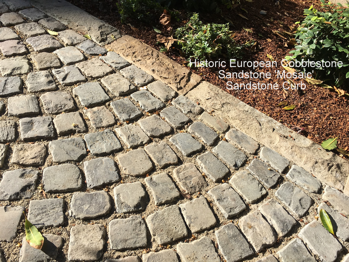 Granite Cobblestone Pavers : Antique reclaimed sandstone cobblestone