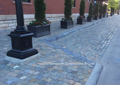 61. Historic Sidewalk Cobble, reclaimed limestone curb
