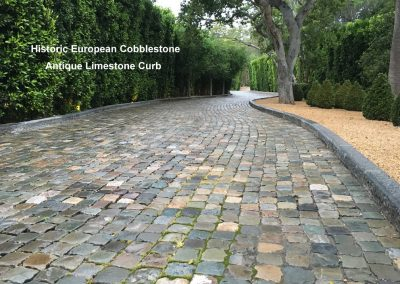 Antique Cobblestone and Reclaimed Limestone Curb