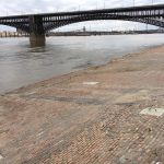 St Louis cobblestone streets - Mississippi River