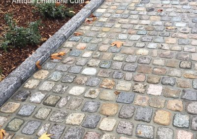 SANDSTONE cobble 6x6x2 and antique Limestone Curb
