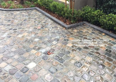 Antique SANDSTONE cobble 6x6x2 and antique Limestone Curb