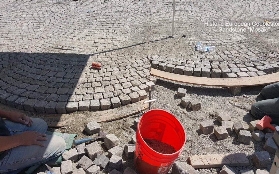 Antique reclaimed cobblestone installation natural base