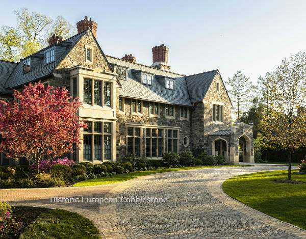 Historic European Sandstone Cobblestone Driveway for Chicago Mansion